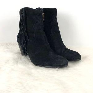 Sam Edelman Black Suede Louie Fringe Western Boots